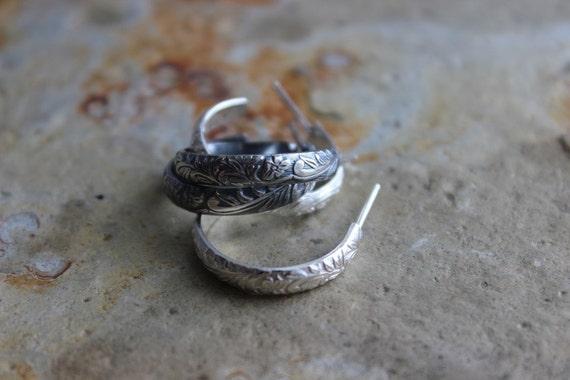 Sterling Silver Floral Post Hoop Earrings Gifts Under 50