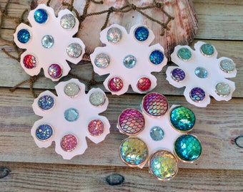 Mermaid Scale Earring Set-Faux Druzy Earring Set-Mermaid Scale Studs-Druzy Earrings-Druzy Studs-Flower Power-Girls Gift-Easter Gift-Posts