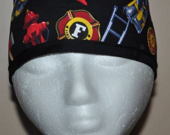 Men's Firefighter Collage Scrub Cap/Hat - One Size Fits Most