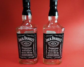 "Two empty bottles of ""Jack Daniels"" 1 litter, empty bottles, glass bottles"