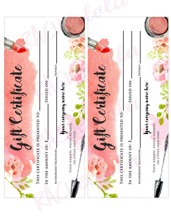 Custom watercolor makeup printable gift certificate custom watercolor makeup printable gift certificate template spring direct sales mary kay gift voucher avon gift card digital download yadclub Choice Image