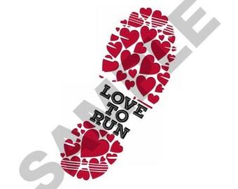Love To Run - Machine Embroidery Design