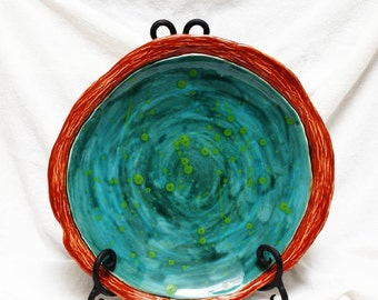 Pottery Handmade Plate Ceramics and Pottery Serving Platter Home and Living Kitchen and Dining Trays and Platters Small Appetizer Platter