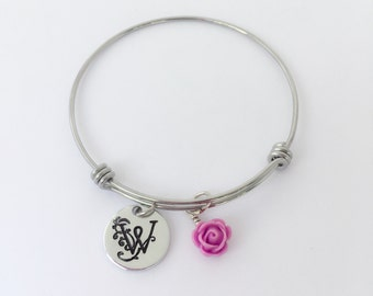 Monogram bracelet, Hand stamped Jewelry, Personalized expandable bangle, Initial bracelet, Personalized initial bangle, Rose Charm