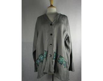 Dual Jacket- Asphalt Gray Linen XL by Blue Fish Red Moon Clothing Ready to Ship