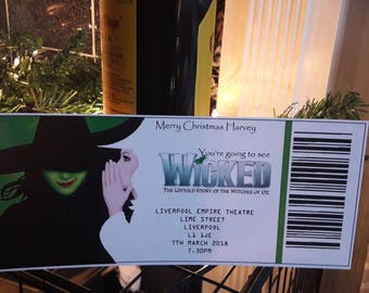 Personalised mock wicked theatre ticket for gifting.