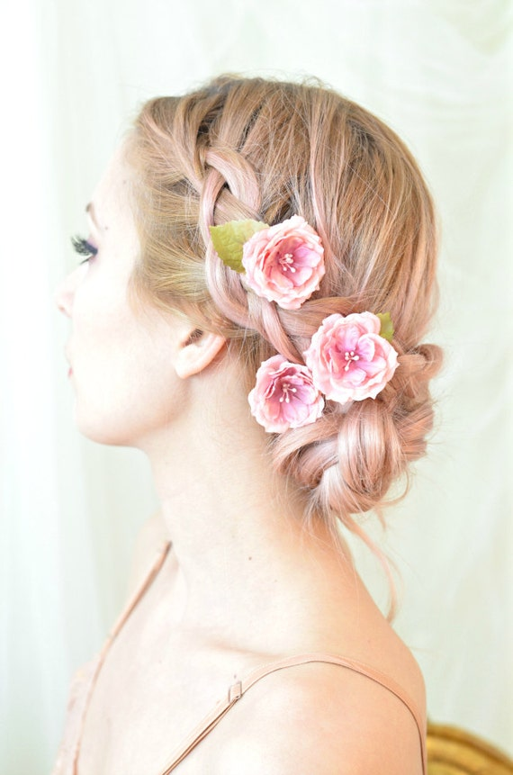 Rose hair pins pink flower clips whimsical floral clip rose hair pins pink flower clips whimsical floral clip wedding hair piece bridal hair accessories tea roses mightylinksfo Choice Image