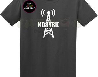 Ham Radio Amateur Radio Custom Call Sign With Tower Short-Sleeve T-Shirt (S-6XL) Dad Gift, Ham Radio Shirt, Call Sign Shirt