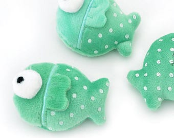 Plush Toy fish sewing applique green size 5x6.5cm