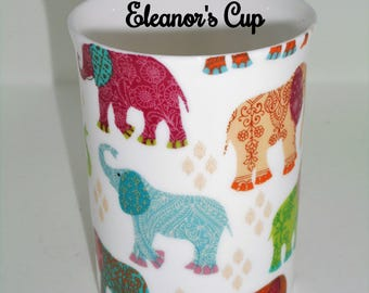 Boxed Personalised  Fine Bone China Elephant Chintz Mug, Gift for Mum Gift For Her.