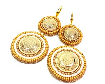 Embroidery Earrings Beadwork Earrings Gold Earrings White Earrings Earrings Bead embroidery jewelry