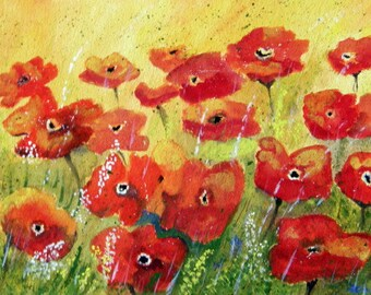 BRIGHT and SUNNY - Original Watercolor Floral Painting.