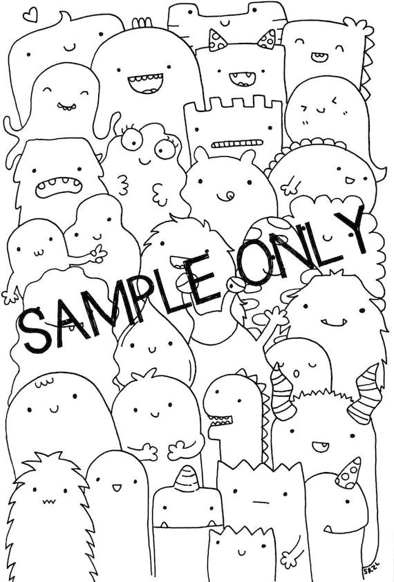Adult Printable Coloring Page Wall Art Doodle Kawaii
