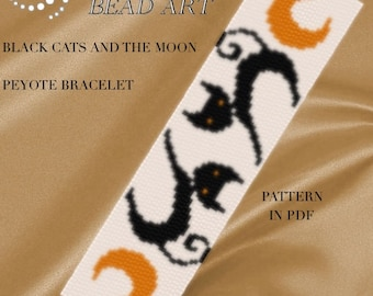 Pattern, peyote bracelet - Black cats and the moon peyote bracelet pattern in PDF - instant download