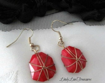 Red and Gold Wire Wrapped Earrings, Red Earrings, Dangle Earrings, Red Wrapped Earrings, Earrings,Statement Earrings, Gold Wire Wrapped