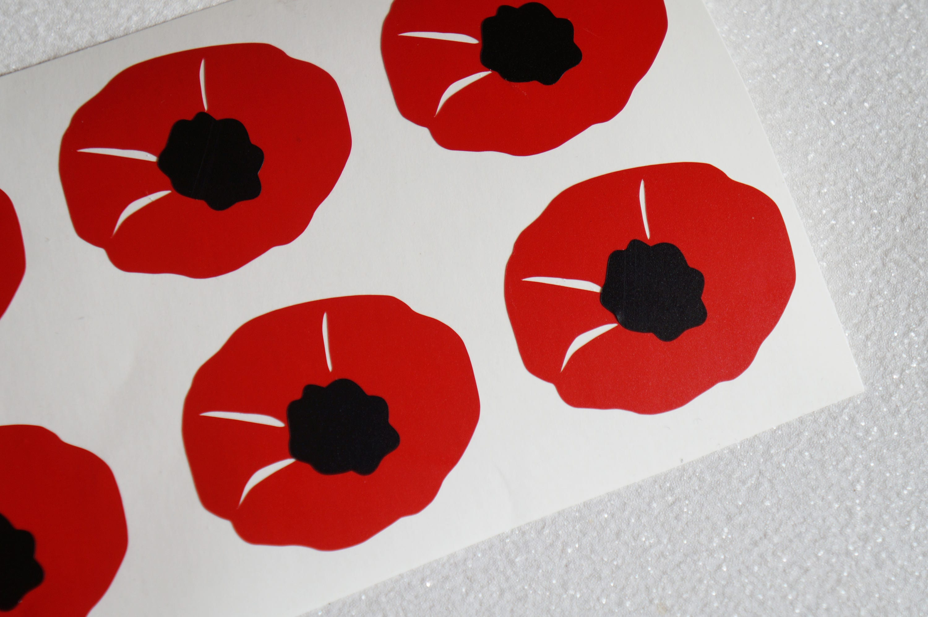 30 Poppy Stickers Invitation Seals Flower Sticker Baby