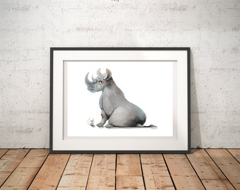 Rhino & Mouse Print | Lovely Chubby Happy