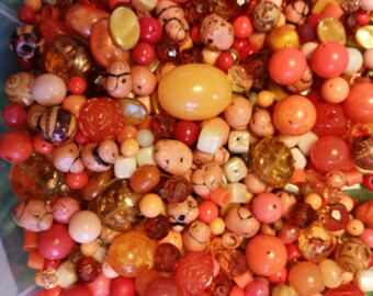 Huge Scoop of Orange Beads!! Bead Soup * 6 oz.!