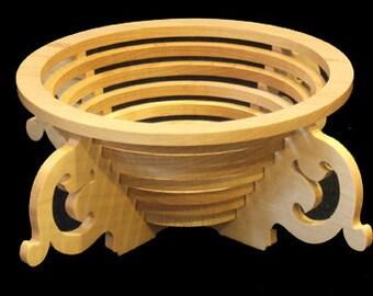 Wooden Fruit Bowl - Four Legged in Maple or Walnut