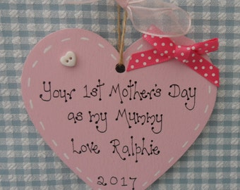 1st first Mother's Day personalised wooden heart keepsake pink