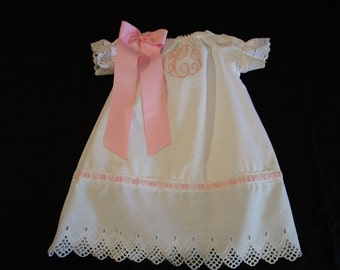 Girl Monogrammed White Eyelet Christening Gown Baby Dedication Baptism