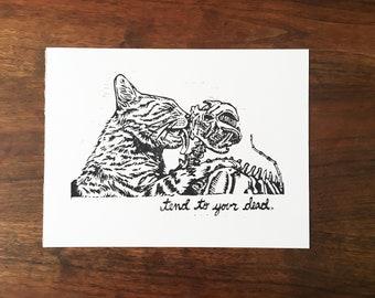 """Tend To Your Dead - Linoleum Block Print - 9""""x12"""""""