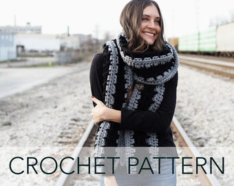 Crochet Pattern // Wide Scarf Wrap Rectangle Shawl // Oakley Super Scarf PATTERN