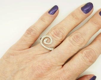 Art deco rings white gold-14K White Gold Diamond Ring-Eternity band-Wave Ring-Ocean wave ring-Stackable Rings-Multistone ring-Promise ring