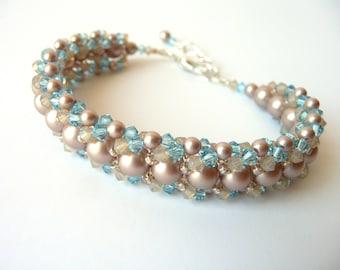 Beaded Jewelry Bracelet,  Pearl and Crystal Woven Jewelry Bracelet, Bridesmaid, Bridal, Beach Wedding Jewelry, Destination Wedding