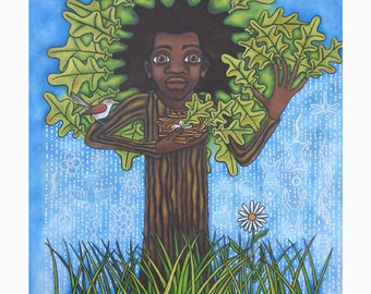 "Archival quality reproduction, entitled ""Man as Tree"" hand signed and titled by the artist, Karen James"