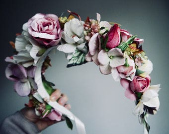 Silk flower crown- bridal crown - hen party - bachelorette crown - baby shower crown - Custom - Made to Order