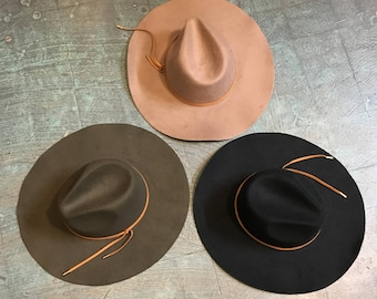 Wide brimmed wool felt fedora southwestern unisex hat // one size fits most // spring 2018 // boho festival western