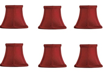 Set of 6 Red Bell 5 Inch Chandelier Lamp Shade Mini Clip on Shade