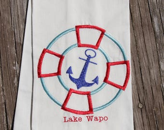 Personalized Dish Towels with Anchor for the Cabin, Cottage or Lake, Embroidered,