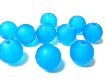 10 frosted blue glass beads 12mm (N-40)