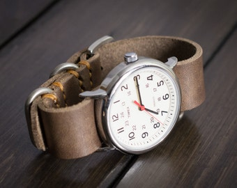 Leather Zulu Watch Strap, 22mm, 20mm, 18mm, 24mm, watch band - Driftwood