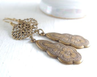 Vintage Inspired Floral Brass Drop Earrings Lightweight Filigree Dangles Antiqued Etched Flower Pansy Dangles Everyday Bohemian Dangles