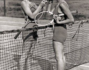 Vintage photography tennis photo print women smoking cigarettes smokers antique photograph 1930s gift tennis player