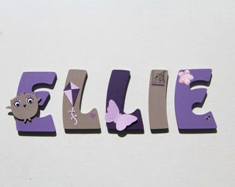 first name letter wood girl OWL theme