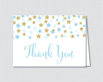 Printable Star Thank You Card - Printable Instant Download - Twinkle Twinkle Little Star Baby Shower Thank You Card, Blue and Gold - 0028-B