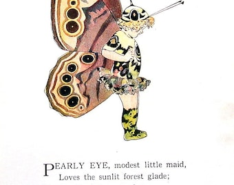 Pearly Eye Butterfly, Gemmed Brown Butterfly - 1914 Antique Book Page - Butterfly Babies, Butterfly Children - 9 x 6