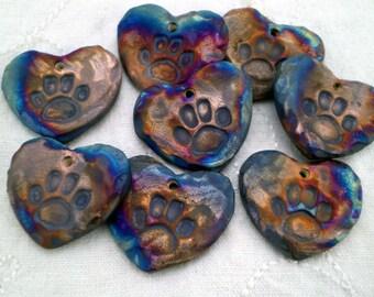 Top Hole, 3+ Paw Print Heart Beads, Raku Bead, Porcelain Clay, Handmade Bead Supplies