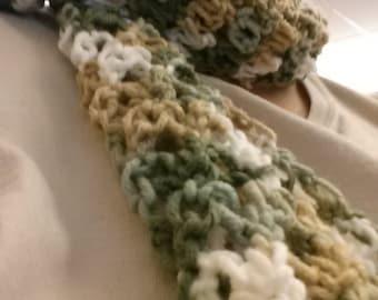 Light Soft Crochet Winter Scarf, crochet scarf, green scarf, multi color scarf