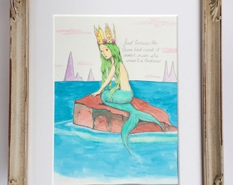 RESERVED for Jacqueline* Mermaid Queen - Original Watercolor by Marybel Martin - Framed - wall art custom mat
