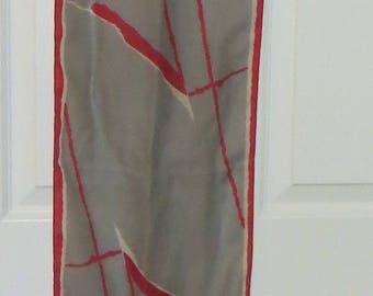 1980s abstract rectangle scarf/ 1980s red and gray scarf/ vintage scarf