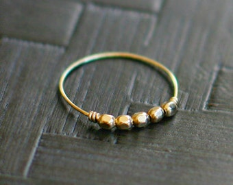 "delicate gold beaded ring - 14k gold filled stacking ring, layering ring, thin dainty ring, skinny ring, ultra thin - ""libra"" handmade ring"