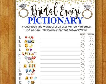 Bridal Shower Game Pictionary - EMOJI Pictionary - Royal Blue and Gold - Instant Printable Digital Download - diy Bridal Shower Printables