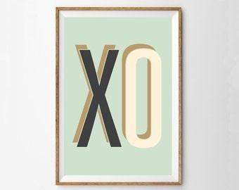 X O - Midcentury Modern Art Print - Mint Charcoal Cream Nursery Art Print Poster - Minimalist Billboard 50s Retro Wall Art - Mod Decor