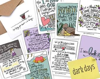 PRINTABLE Hand-drawn Scripture + Hymn DARK DAYS Card Set of 8 with Printable Encouraging or Sympathy Greeting Card // Digital Download