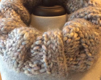 Gray Blue hand knit Cowl